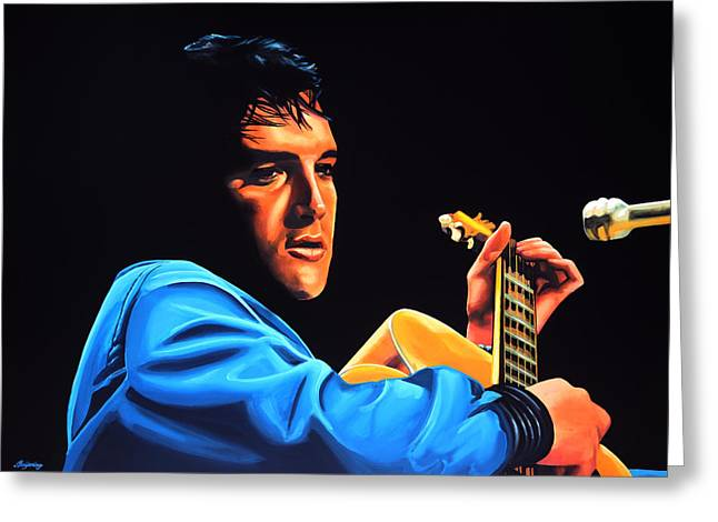 Elvis Presley 2 Painting Greeting Card by Paul Meijering
