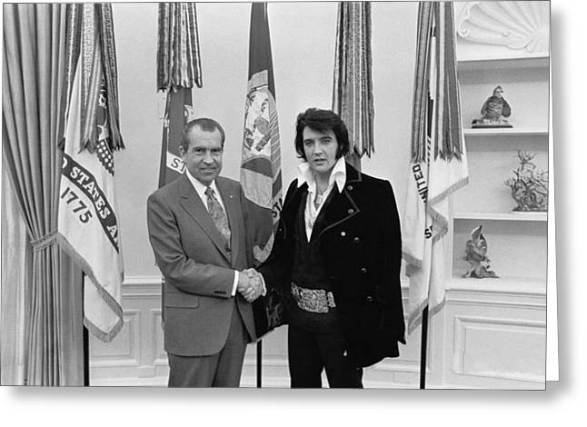 Elvis Presley And Richard Nixon-featured In Men At Work Group Greeting Card