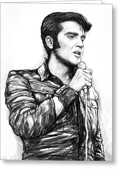 Elvis Presley Art Drawing Sketch Portrait Greeting Card by Kim Wang