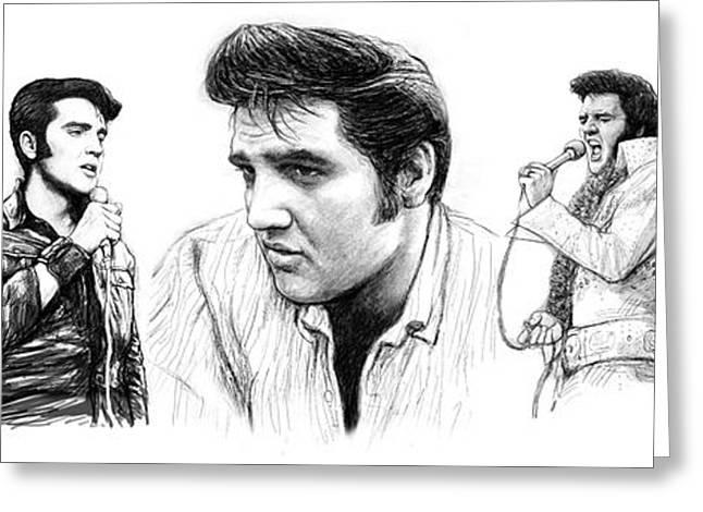 Elvis Presley Art Long Drawing Sketch Portrait Greeting Card by Kim Wang
