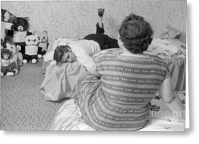 Elvis Presley At Home With His Mother Gladys And His Teddy Bears Greeting Card