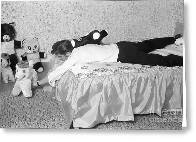 Elvis Presley At Home With His Teddy Bears 1956 Greeting Card by The Harrington Collection