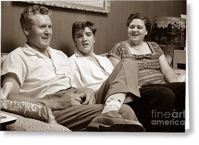 Elvis Presley At Home With Vernon And Gladys Sepia Print Greeting Card