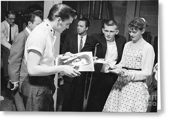 Elvis Presley Backstage Signing Autographs For Fans 1956 Greeting Card