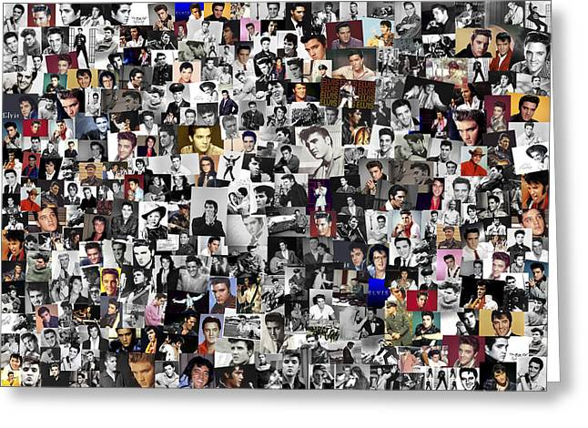 Elvis Presley Collage Greeting Card by Chris Smith