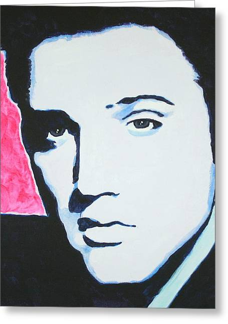 Elvis Presley - Crimson Pop Art Greeting Card