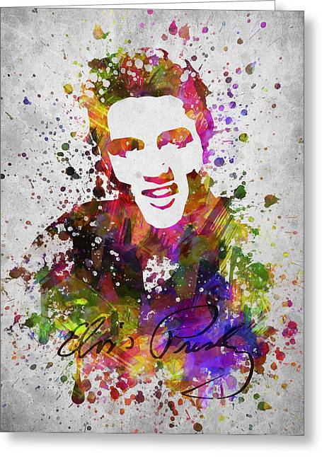 Elvis Presley In Color Greeting Card by Aged Pixel