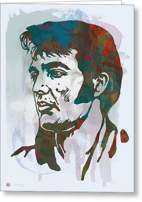 Elvis Presley - Modern Etching  Pop Art Poster Greeting Card by Kim Wang
