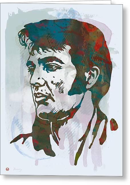 Elvis Presley - Modern Etching  Pop Art Poster Greeting Card