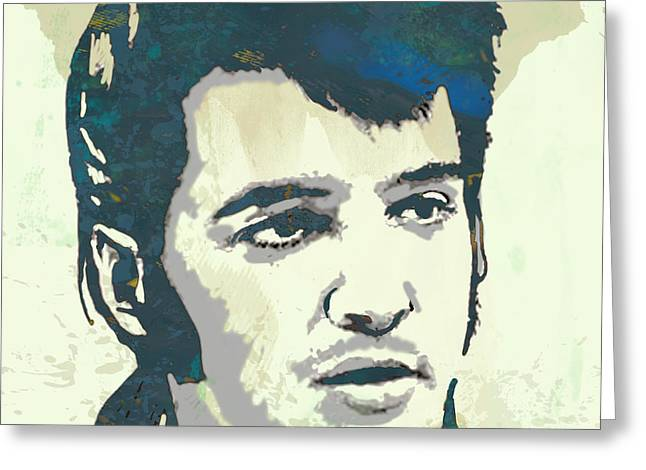 Elvis Presley - Modern Pop Art Poster Greeting Card by Kim Wang