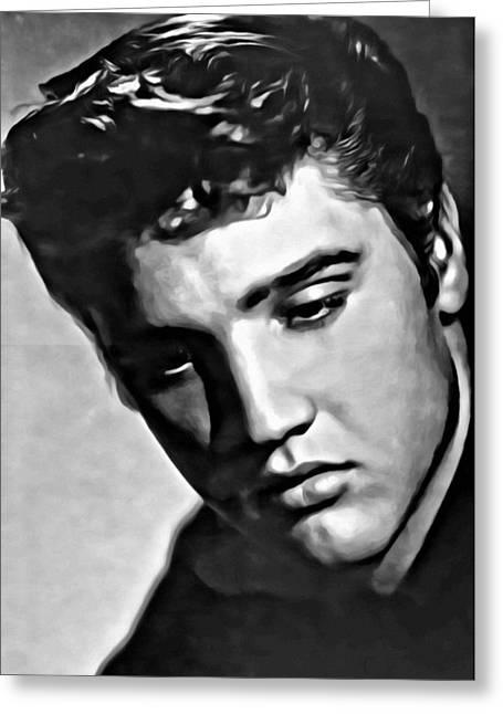 Elvis Presley Painting Greeting Card by Florian Rodarte