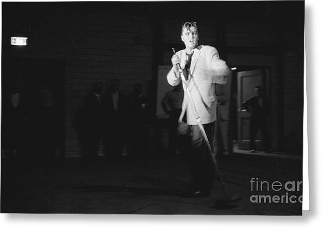 Elvis Presley Performing In Dayton In 1956 Greeting Card by The Harrington Collection