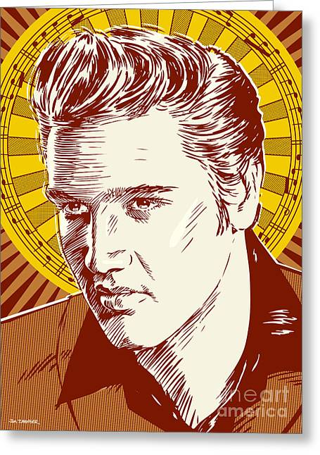 Elvis Presley Pop Art Greeting Card by Jim Zahniser