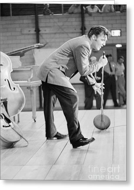 Elvis Presley Singing On Stage In Dayton In 1956 Greeting Card