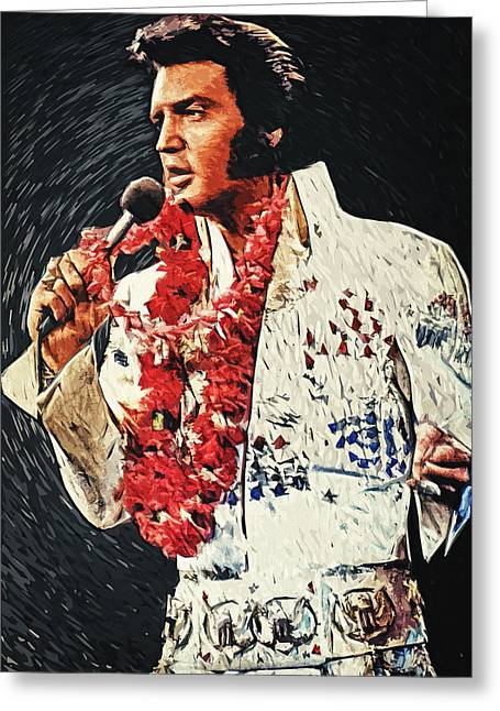 Elvis Presley Greeting Card by Taylan Apukovska