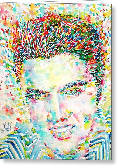 Elvis Presley Watercolor Portrait.1 Greeting Card by Fabrizio Cassetta