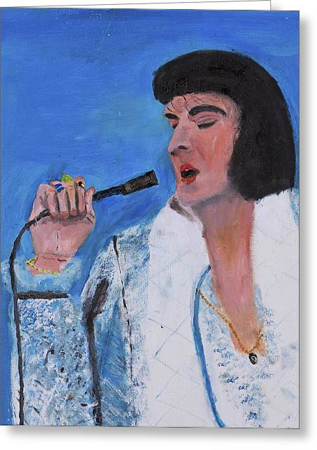 Greeting Card featuring the painting Elvis by Swabby Soileau