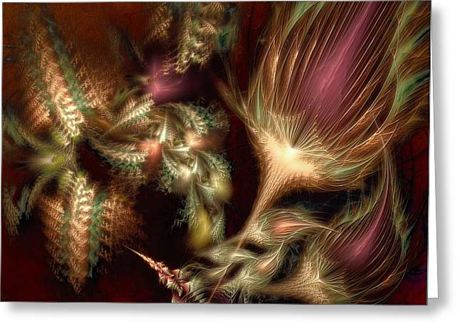 Greeting Card featuring the digital art Elysian by Casey Kotas