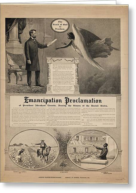 Emancipation Proclamation Of President Abraham Lincoln Freeing The Slaves Of The United States Greeting Card by MotionAge Designs