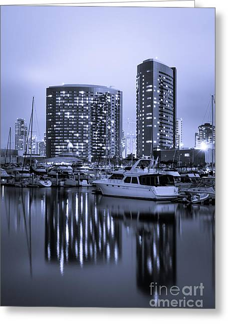Embarcadero Marina At Night In San Diego California Greeting Card by Paul Velgos