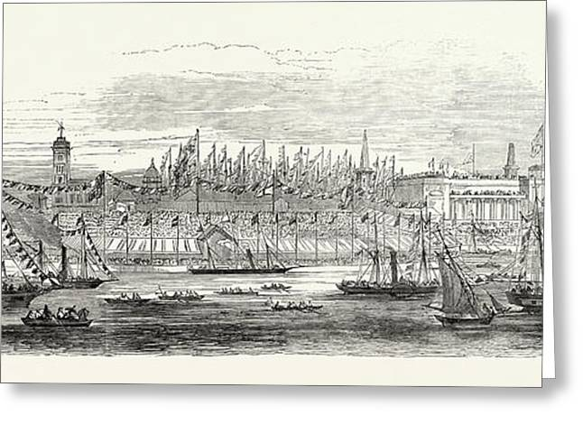Embarkation Of Her Majesty From The Landing Stage Greeting Card