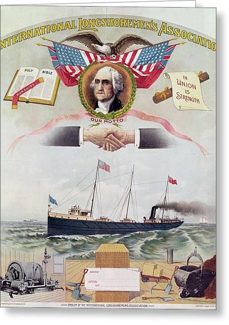 Emblem Of The International Longshoremens Association, C.1886 Litho Greeting Card