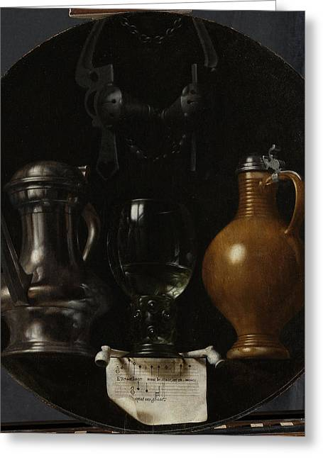 Emblematic Still Life With Flagon, Glass Greeting Card by Litz Collection