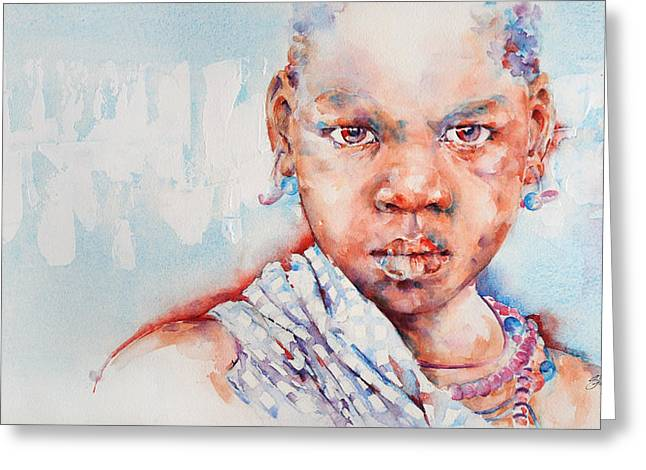 Embolden - African Portrait Greeting Card by Stephie Butler