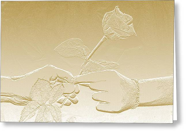 Embossed Gold Rose By Jan Marvin Studios Greeting Card