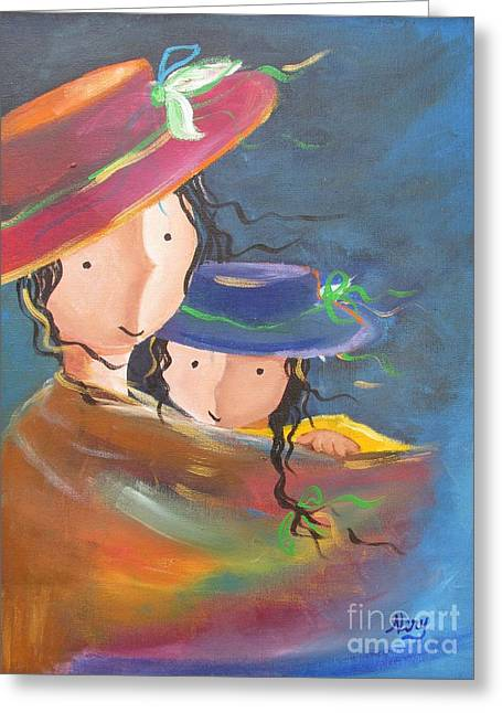 Greeting Card featuring the painting Embrace by Nereida Rodriguez