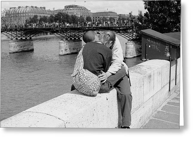 Greeting Card featuring the photograph Embrace-paris by Dave Beckerman