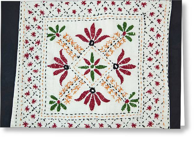 Embroidered Pillow Case, Dehradun, India Greeting Card by Charles O. Cecil