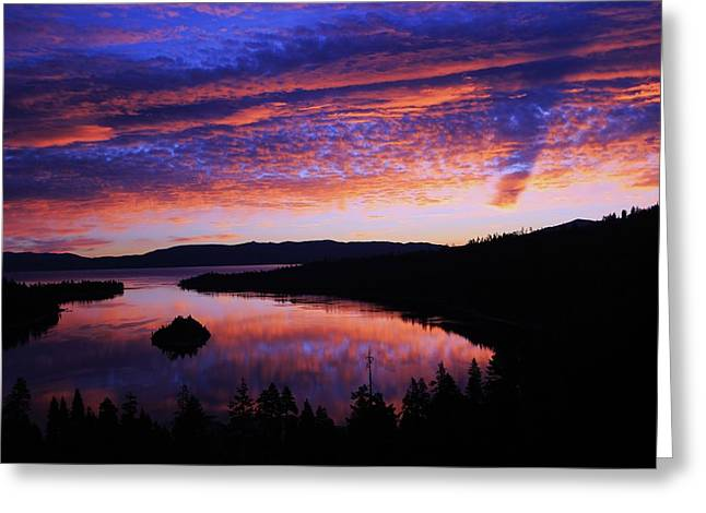 Emerald Bay Awakens Greeting Card by Sean Sarsfield