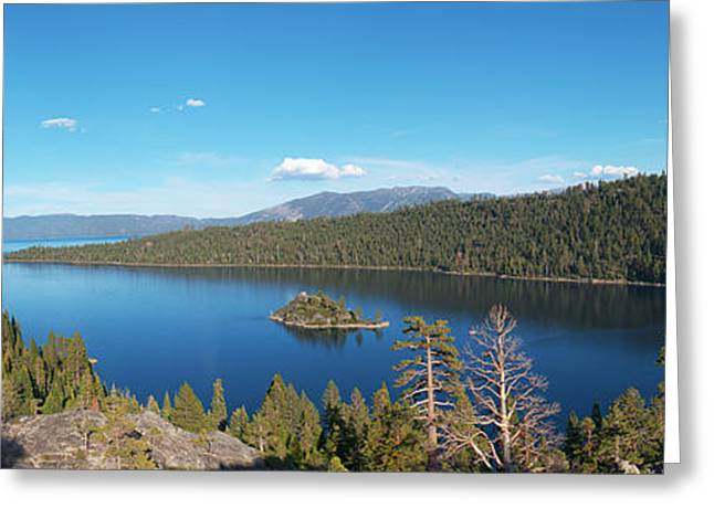 Greeting Card featuring the photograph Emerald Bay Lake Tahoe Panorama by Paul Topp