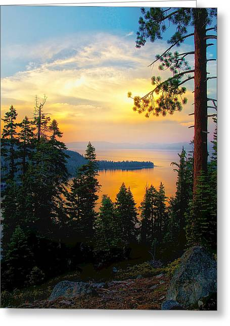 Emerald Bay Sunset Greeting Card