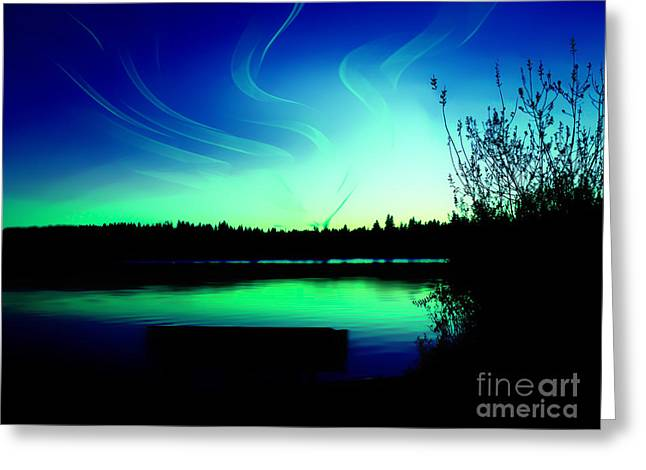 Emerald City Sunset At Lake Ballinger Greeting Card