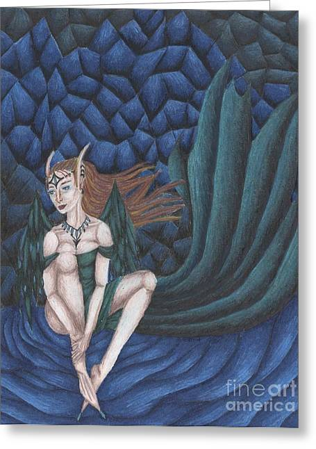 Emerald Eyes Greeting Card by Coriander  Shea