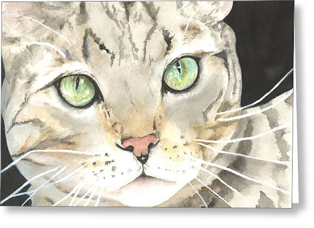 Emerald Eyes Greeting Card by Kimberly Lavelle