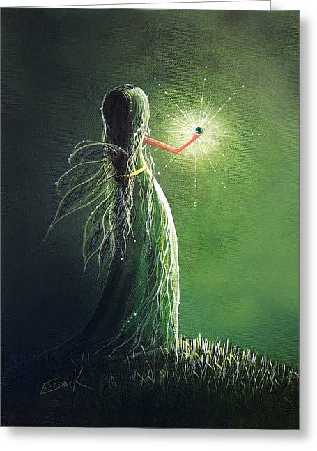 Emerald Fairy By Shawna Erback Greeting Card