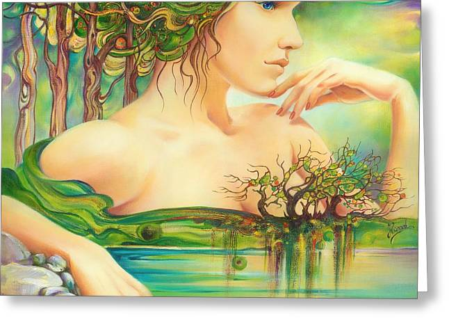 Greeting Card featuring the painting Emerald Lake by Anna Ewa Miarczynska