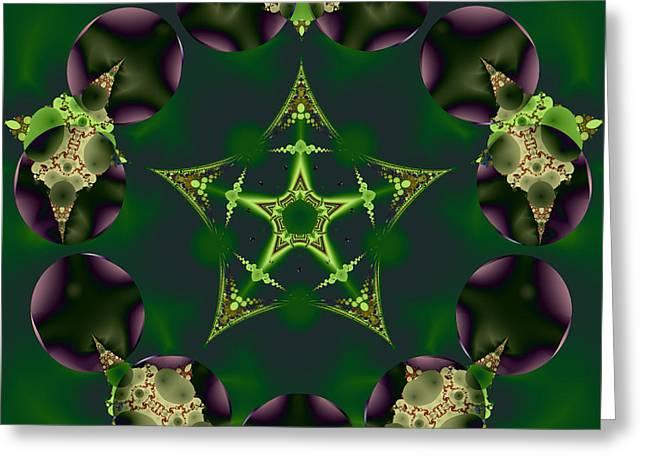 Emerald Pentagram Greeting Card