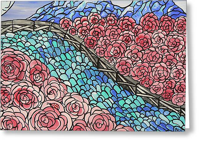 Emerald River Roses Greeting Card by Barbara St Jean