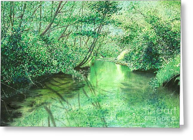 Emerald Stream Greeting Card