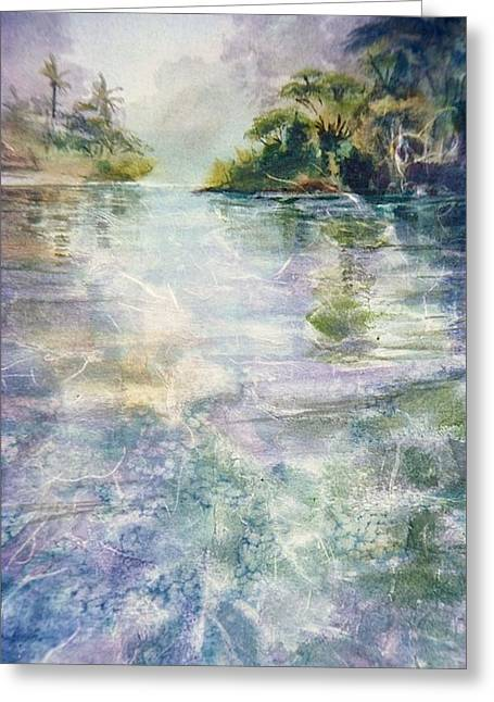 emerald Stream Greeting Card by Patrice Pendarvis