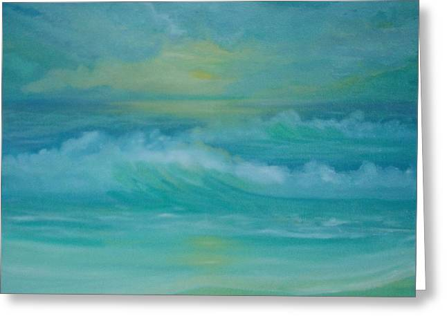 Emerald Waves Greeting Card