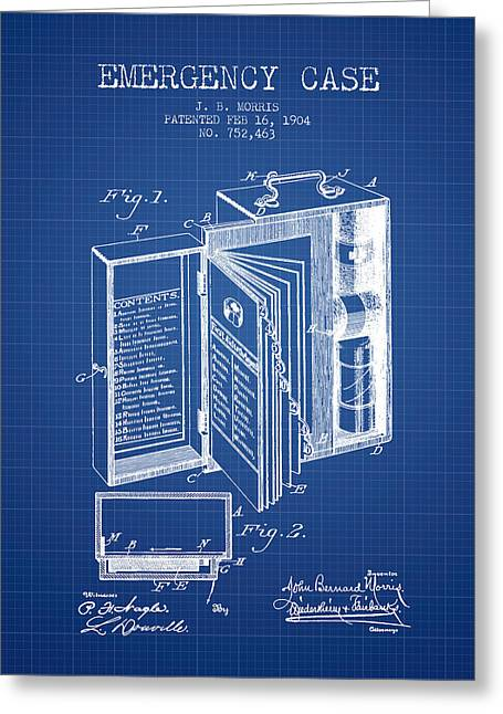 Emergency Case Patent From 1904 - Blueprint Greeting Card by Aged Pixel