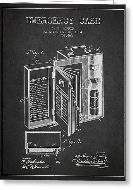 Emergency Case Patent From 1904 - Charcoal Greeting Card by Aged Pixel