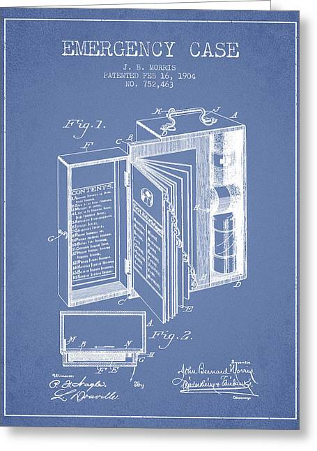 Emergency Case Patent From 1904 - Light Blue Greeting Card by Aged Pixel