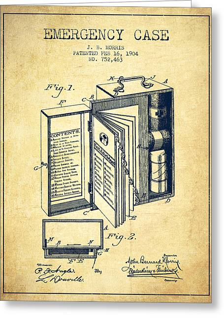 Emergency Case Patent From 1904 - Vintage Greeting Card by Aged Pixel