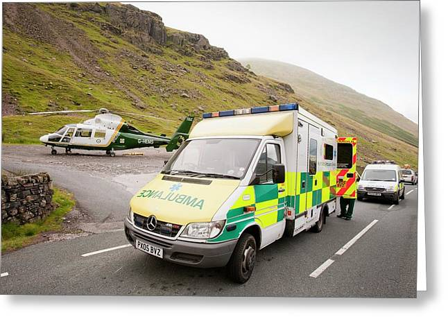 Emergency Services At Crash Site Greeting Card by Ashley Cooper